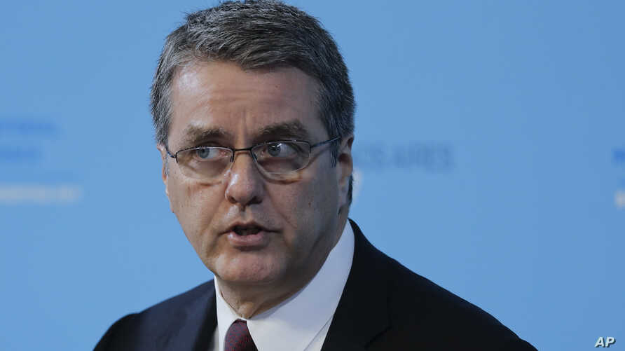 Director General of the World Trade Organization, Roberto Azevedo, speaks during the eleventh Ministerial Opening Conference of the WTO in Buenos Aires, Argentina, Dec. 10, 2017.