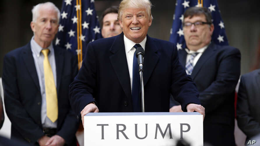 Republican presidential candidate Donald Trump speaks during a campaign event in the atrium of the Old Post Office Pavilion, soon to be a Trump International Hotel, March 21, 2016, in Washington.