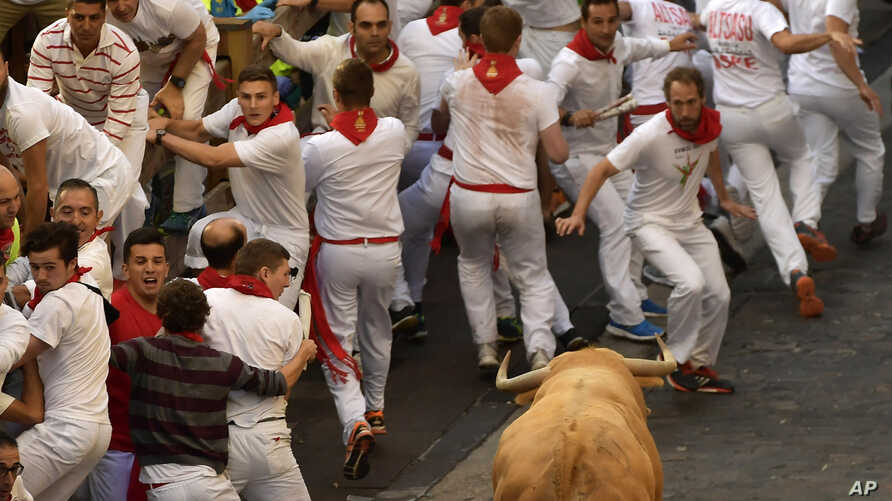 Revellers run in front of Cebada Gago fighting bulls during the first running of the bulls at the San Fermin Festival, in Pamplona, northern Spain, July 7, 2017.