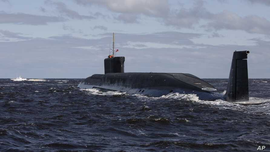 FILE - A Russian nuclear submarine, Yuri Dolgoruky, is seen during sea trials near Arkhangelsk, Russia, July 2, 2009.