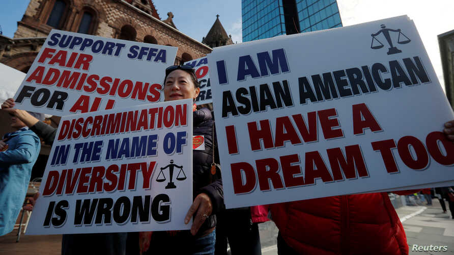 "Supporters attend the ""Rally for the American Dream - Equal Education Rights for All,"" ahead of the start of the trial in a lawsuit accusing Harvard University of discriminating against Asian-American applicants, in Boston, Massachusetts, U.S., Octob"