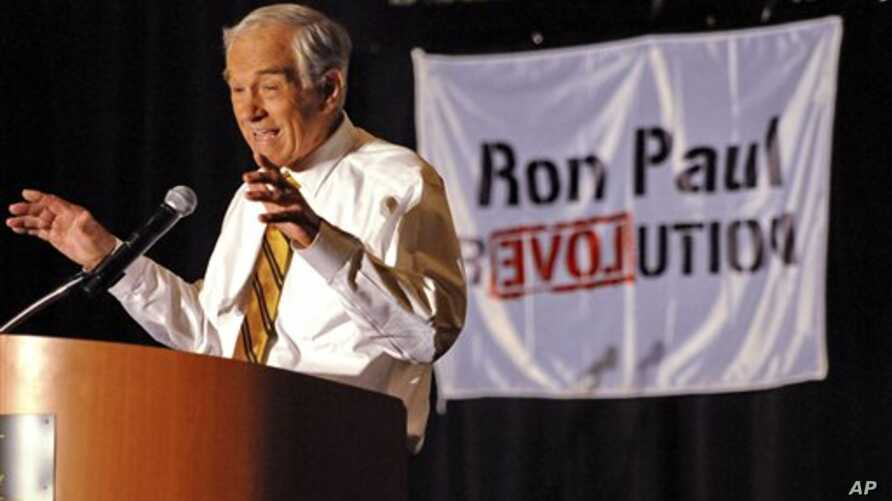 Representative Ron Paul of Texas speaks to a gathering of Tea Party supporters at the Hyatt Regency in Greenville, South Carolina, May 5, 2011