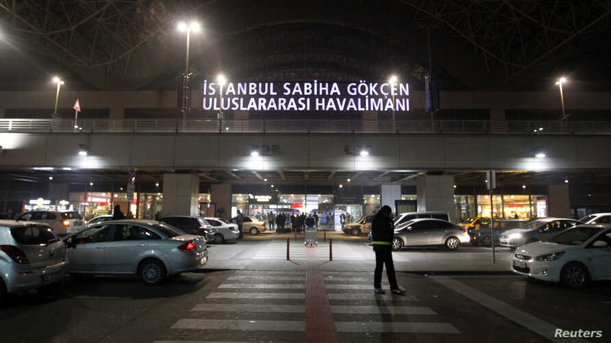 FILE - A general view of the main entrance of Sabiha Gokcen Airport of Istanbul, Turkey.
