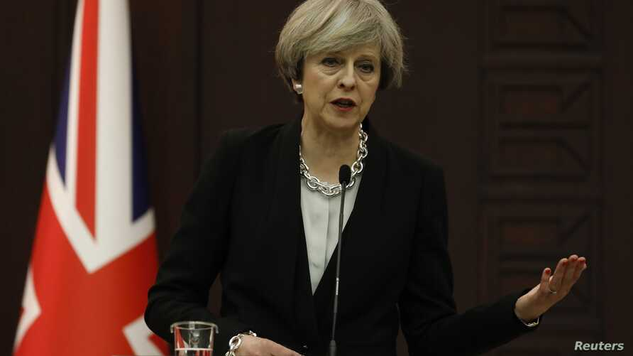 Britain's Prime Minister Theresa May speaks during a joint news conference with her Turkish counterpart Binali Yildirim (not pictured) in Ankara, Turkey, Jan. 28, 2017.