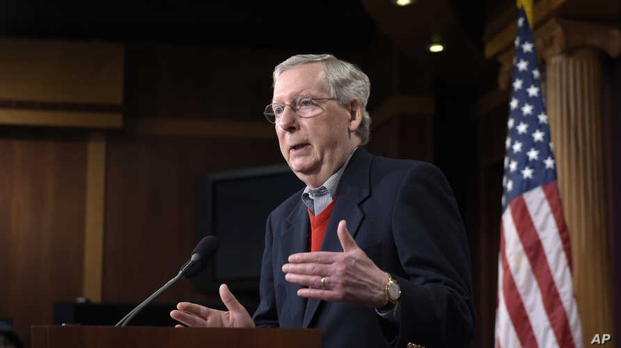 Senate Majority Leader Mitch McConnell of Kentucky, speaks during a news conference in Washington, Dec. 12, 2016. McConnell sees no need for a special panel to investigate reported Russian attempts to influence the recent U.S. election.