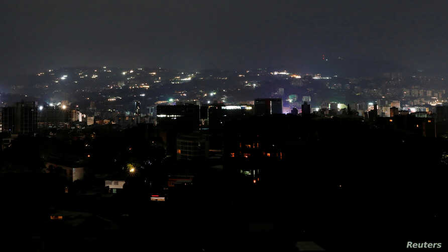 A general view during a blackout in Caracas, Venezuela, March 7, 2019.