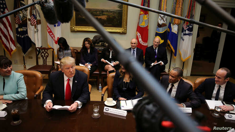 U.S. President Donald Trump holds breakfast meeting with small business leaders at the Roosevelt room of the White House in Washington, D.C., Jan. 30, 2017.