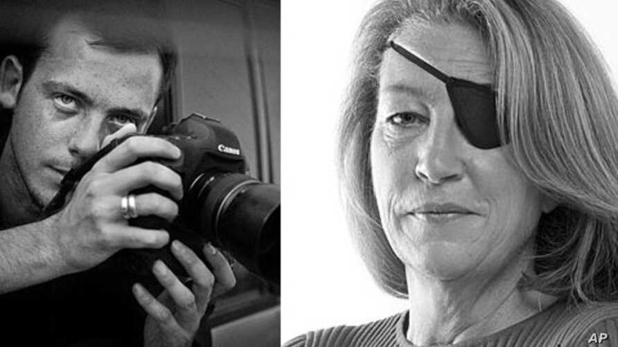 Undated  photo of French photographer Remi Ochlik who died Wednesday Feb. 22, 2012  in Homs, Syria and American journalist Marie Colvin working for a British newspaper, who were killed Wednesday by Syrian government shelling of the opposition strongh