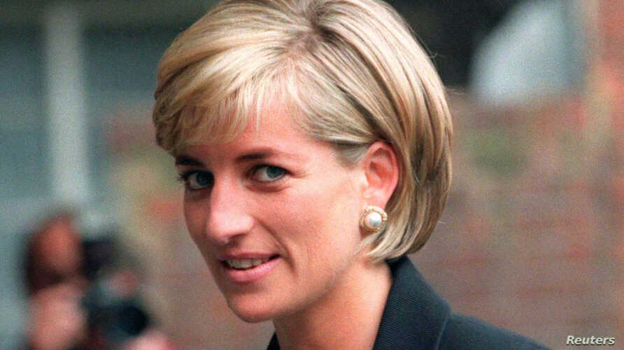 Princess Diana arrives at the Royal Geographical Society in London for a speech on the dangers of landmines throughout the world, June 12, 1997.