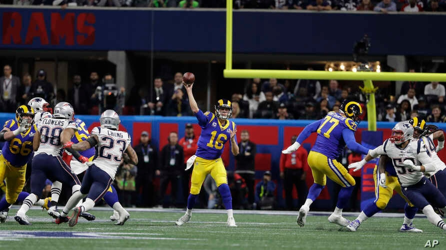 Los Angeles Rams' Jared Goff (16) throws during the first half of the NFL Super Bowl 53 football game between the Los Angeles Rams and the New England Patriots, Feb. 3, 2019, in Atlanta, Georgia.