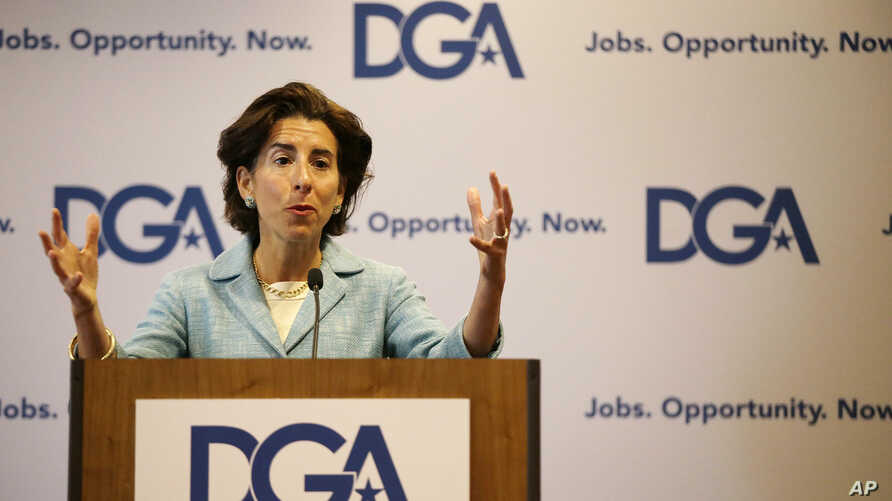 FILE - In this July 14, 2017, file photo, Rhode Island Gov. Gina Raimondo responds to a reporter's question as she addresses a Democratic Governors joint news conference during the National Governor's Association meeting in Providence, R.I.