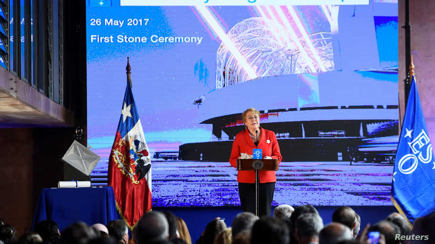 Chile's President Michelle Bachelet speaks during a ceremony to inaugurate the construction of the world's largest telescope in the desert of Atacama, Chile, May 26, 2017.
