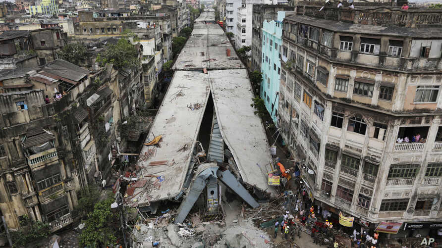 General view shows a partially collapsed overpass in Kolkata, India, April 1, 2016.