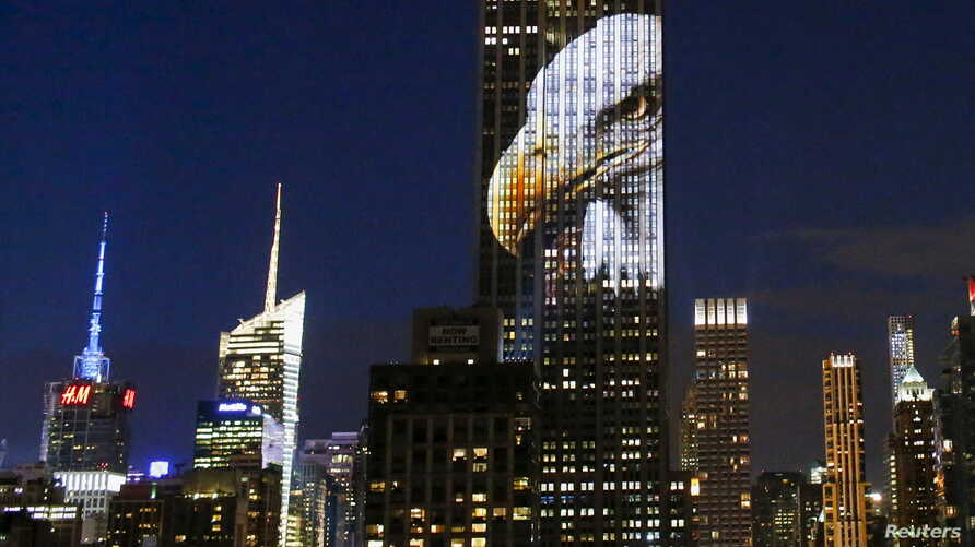 An image of an animal is projected onto the Empire State Building as part of an endangered species projection to raise awareness, in New York, Aug. 1, 2015.