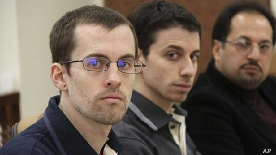 American hikers Shane Bauer (L) and Josh Fattal and their translator attend the first session of their trial in Tehran  (File)