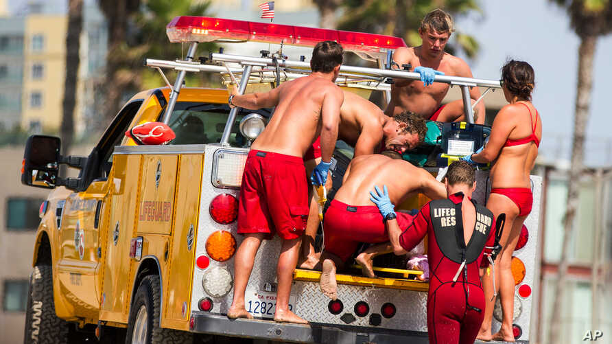 Lifeguards assist a person who was in the water and apparently struck by lightning in Los Angeles, July 27, 2014.