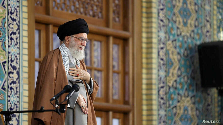 Supreme Leader Ayatollah Ali Khamenei delivers a speech on the first day of Persian New Year, also known as Nowruz in Mashhad, northeast of Tehran, Iran March 21, 2019. (Khamenei.ir handout)