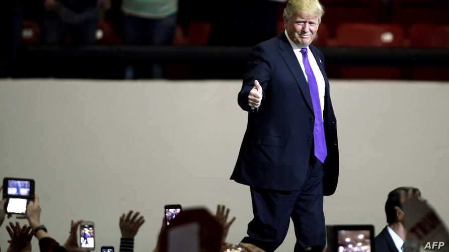 Republican presidential candidate Donald Trump speaks at the South Point Hotel, Casino & Spa in Las Vegas, Nevada, Feb. 22, 2016, a day before Nevada's First in the West presidential caucus.