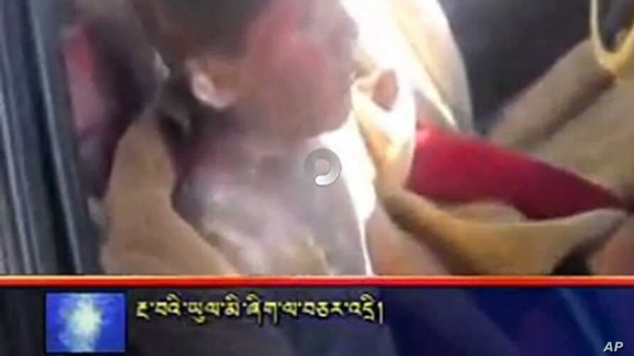 Screen grab from video obtained by VOA on Tibetan monastery