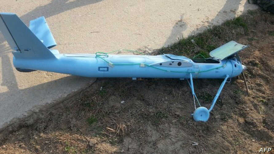 The wreckage of a crashed drone found on Baengnyeong island near the disputed waters of the Yellow Sea, March 31, 2014.