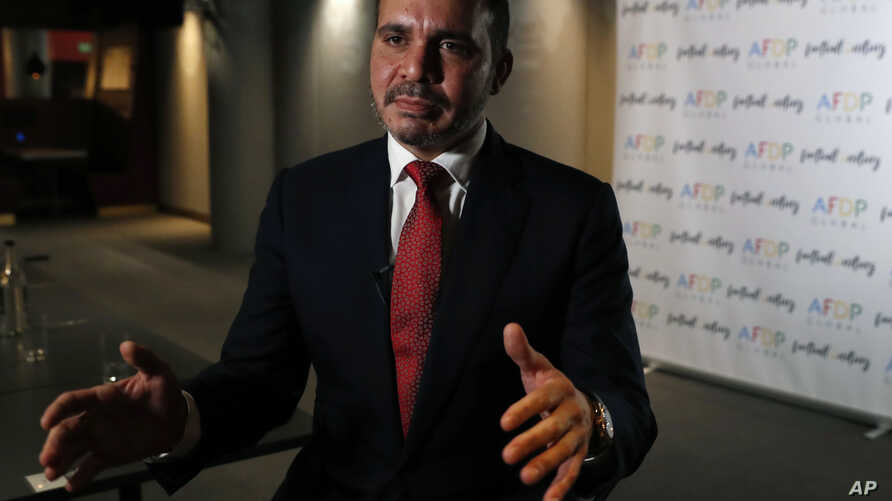 Prince Ali of Jordan takes part in an interview following the launch of the Association Football Development Program Global (AFDP Global) London, Oct. 9, 2018.