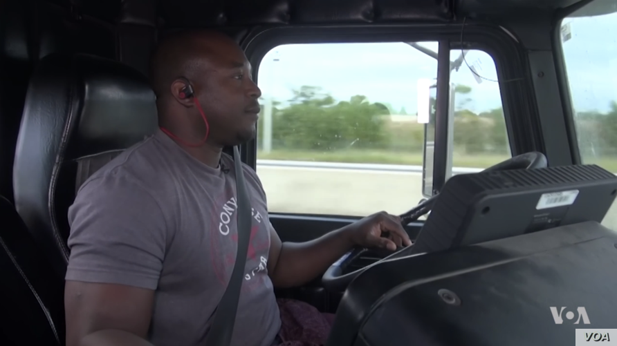 Mamoudou Diawara, an immigrant from the Ivory Coast, says being a trucker allows him to make a new life in the United States on his own terms.