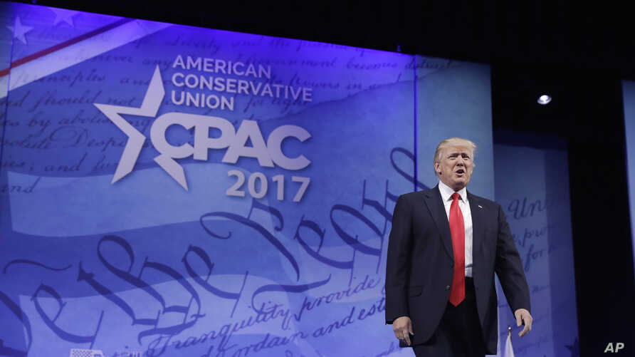 President Donald Trump arrives to speak at the Conservative Political Action Conference (CPAC) in Oxon Hill, Md., Feb. 24, 2017.