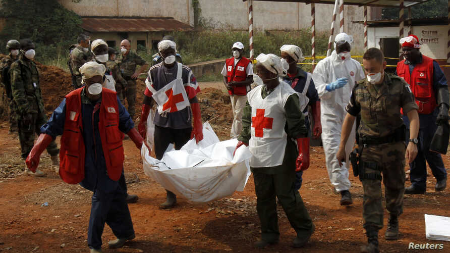 Local Red Cross workers move bodies from a mass grave at a military camp in the 200 villas neighborhood of Bangui, Feb. 17, 2014.