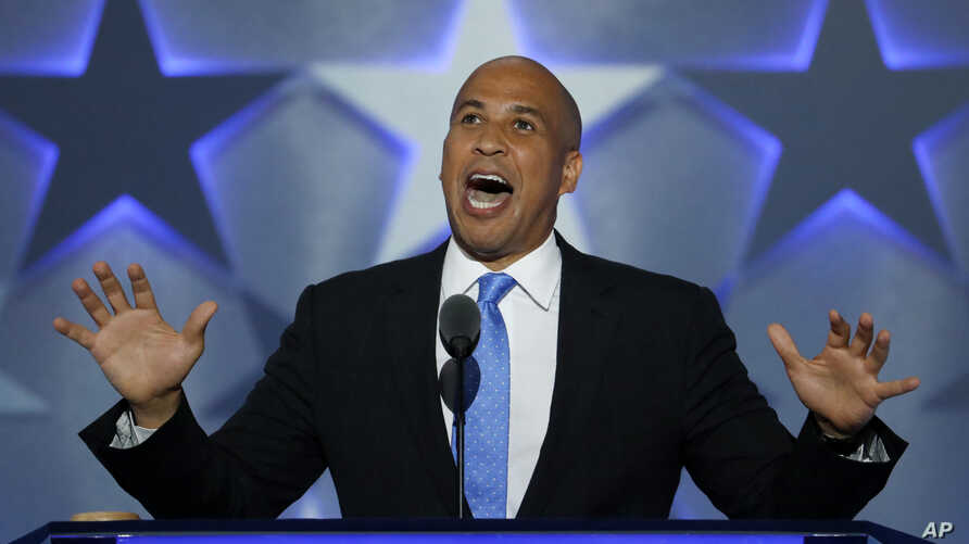 Sen. Cory Booker, D-NJ., speaks during the first day of the Democratic National Convention in Philadelphia , July 25, 2016.