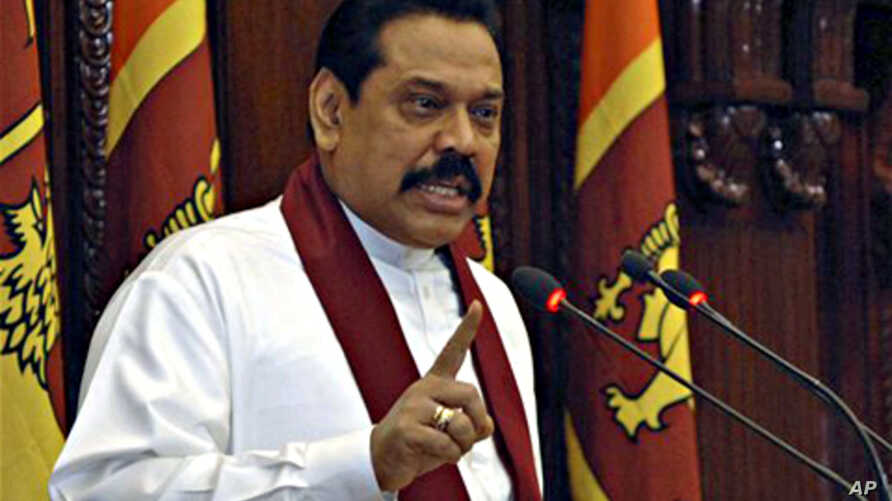 President Mahindra Rajapaksa speaks after government forces captured the Tamil Tigers' de facto capital in northern Sri Lanka (file photo – 02 Jan. 2009)