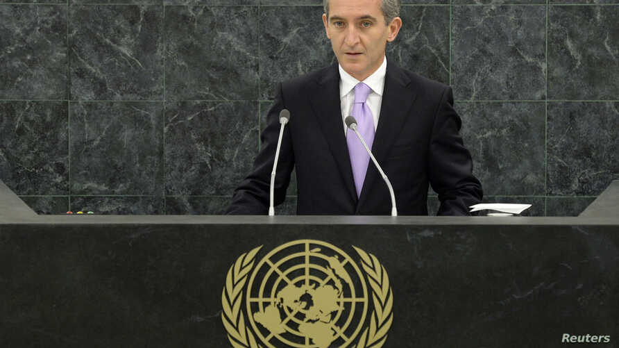 FILE - Iurie Leanca, prime minister of Moldova, addresses the 68th United Nations General Assembly at U.N. headquarters in New York, September 26, 2013.
