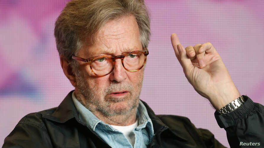 """Eric Clapton attends a press conference to promote the film """"Life in 12 Bars"""" at the Toronto International Film Festival (TIFF) in Toronto, Canada, Sept. 11, 2017."""