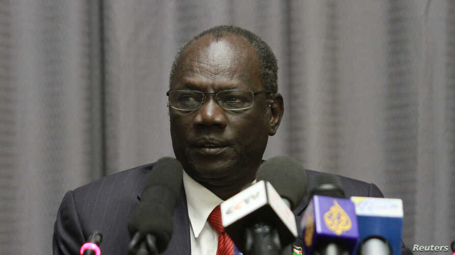 South Sudanese information minister, Michael Makue attends a press conference in Addis Ababa, Ethiopia, Jan. 5, 2014.