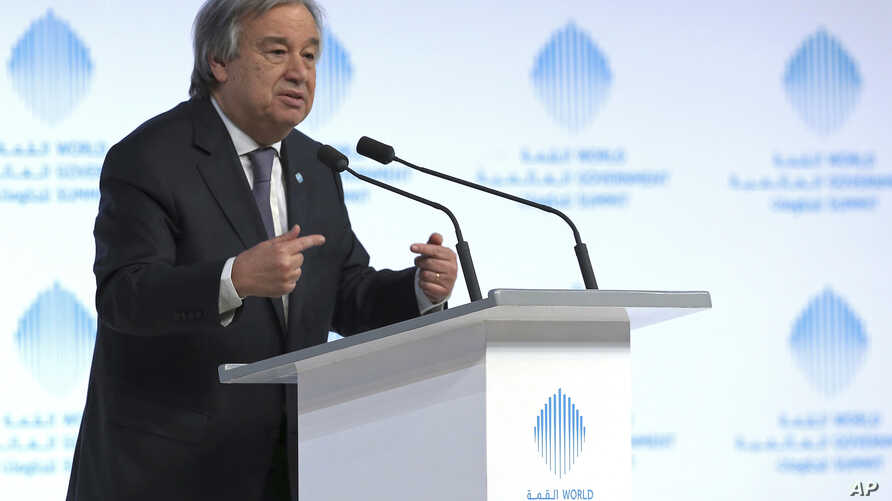 The United Nations Secretary-General Antonio Guterres speaks during the 2nd day of the World Government Summit in Dubai, United Arab Emirates, Monday, Feb. 13, 2017.
