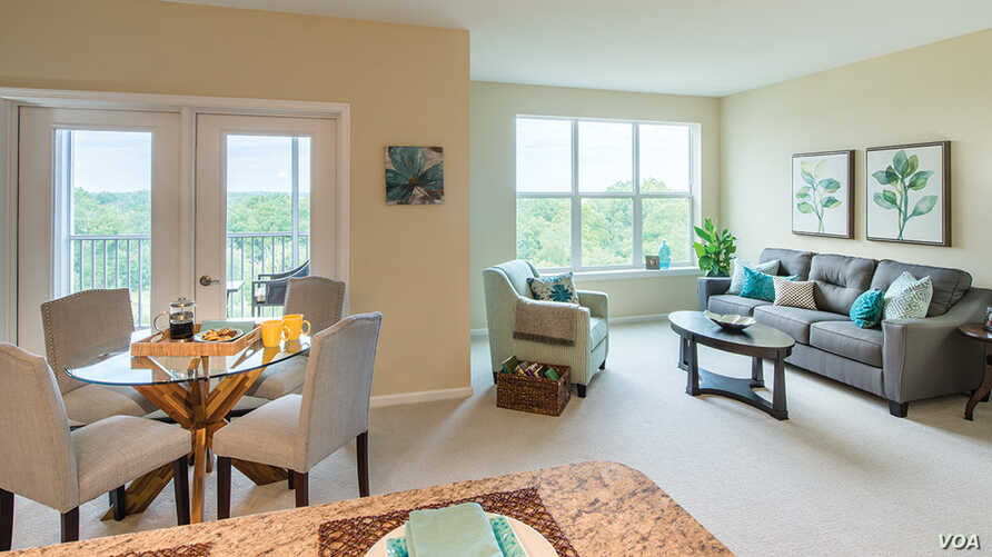 Senior apartments as advertised on the website of retirement living community Ashby Ponds in Loudoun County, Virginia.