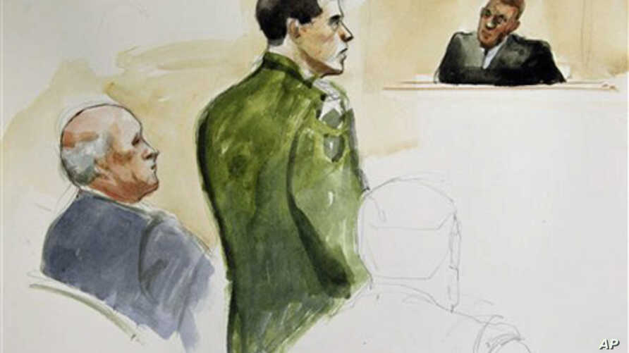 In this courtroom sketch made Wednesday, March 23, 2011, Spc. Jeremy Morlock, center, of Wasilla, Alaska, is shown with his attorney, left, and Military Judge Lt. Col. Kwasi Hawks, right during a court martial at Joint Base Lewis-McChord in Washingto