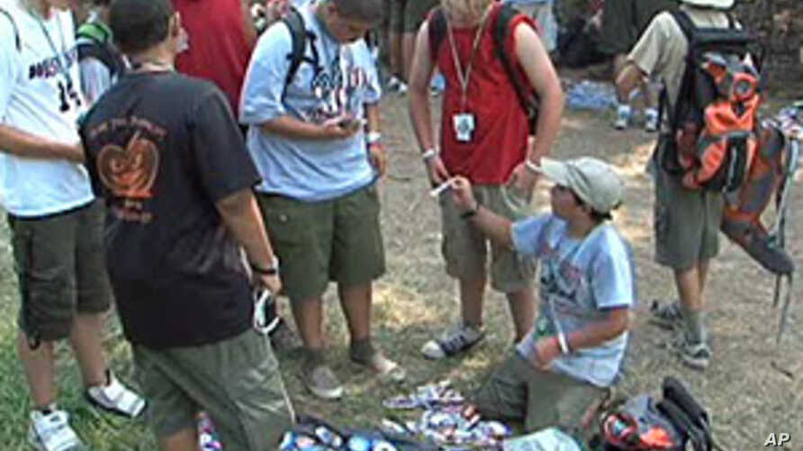 Boy Scouts trading patches at the Boy Scouts National Jamboree in Fort A.P. Hill, Virginia