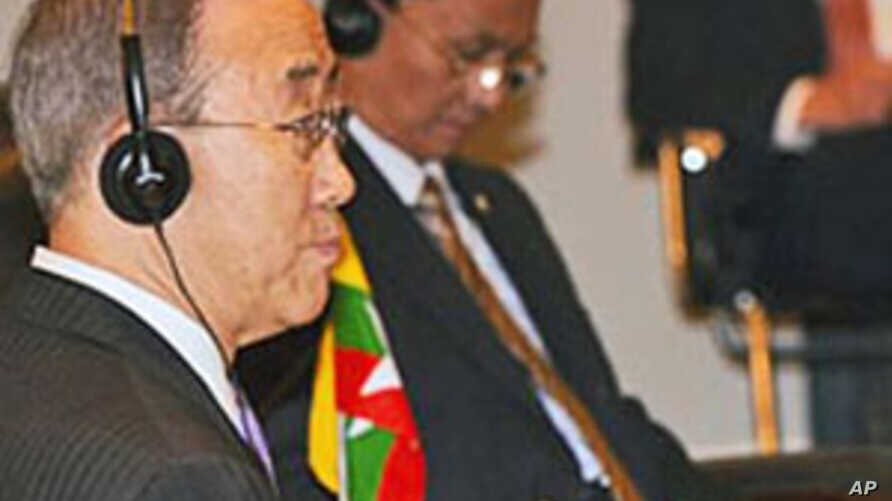 U.N. Secretary-General Ban Ki-moon (L) sits listening next to Burma's PM Thein Sein (C-Rear) at the ASEAN-U.N. summit on the sidelines of the 17th summit of the Association of Southeast Asian Nations in Hanoi, 29 Oct 2010