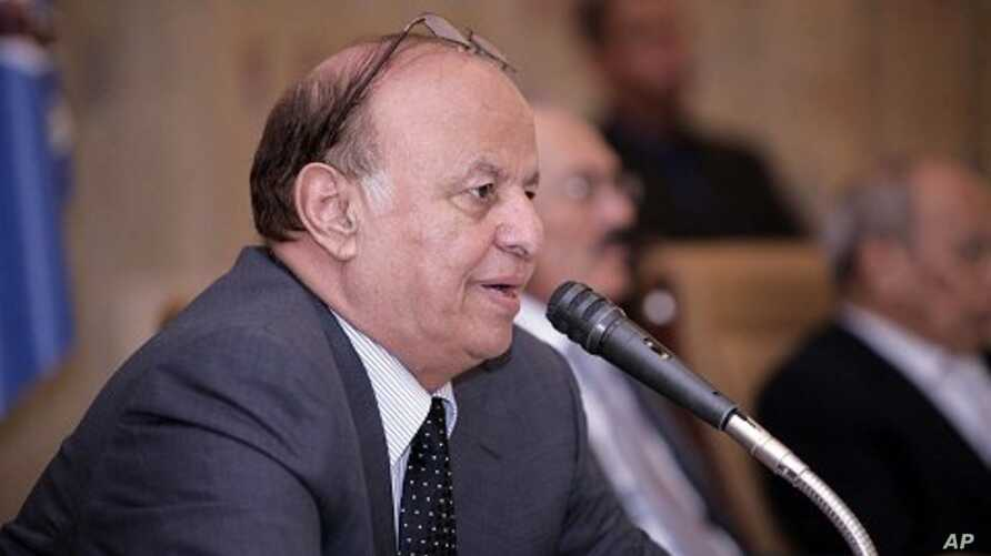 Yemeni Vice President Abd-Rabbu Mansour Hadi addresses a meeting of the ruling General People's Congress party in Sana'a, December 7, 2011.