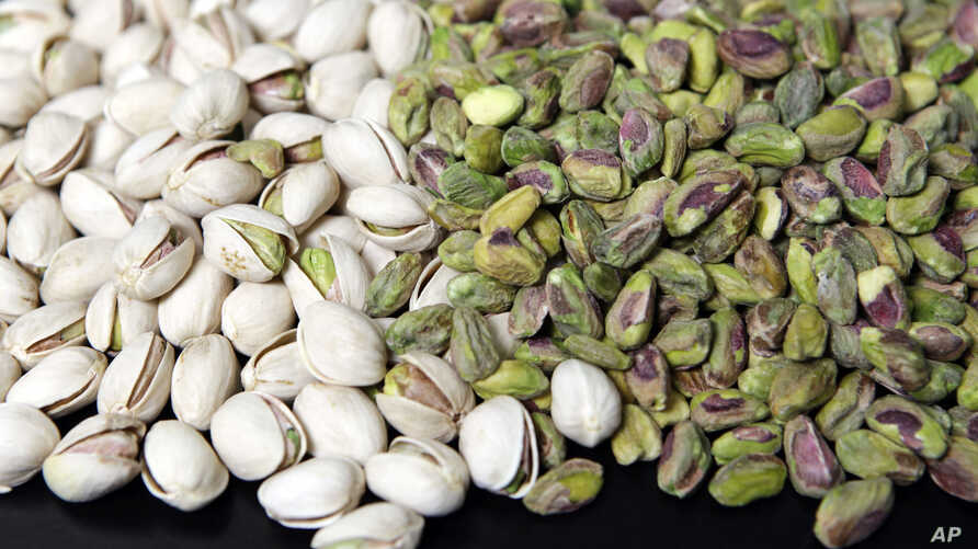 FILE - Pistachio nuts are displayed at the headquarters of Primex International Trading Corp. in Los Angeles, California.