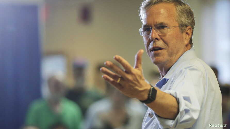 Republican presidential candidate Jeb Bush answers a question from the audience during a town hall campaign stop at the VFW Post in Hudson, New Hampshire, July 8, 2015.