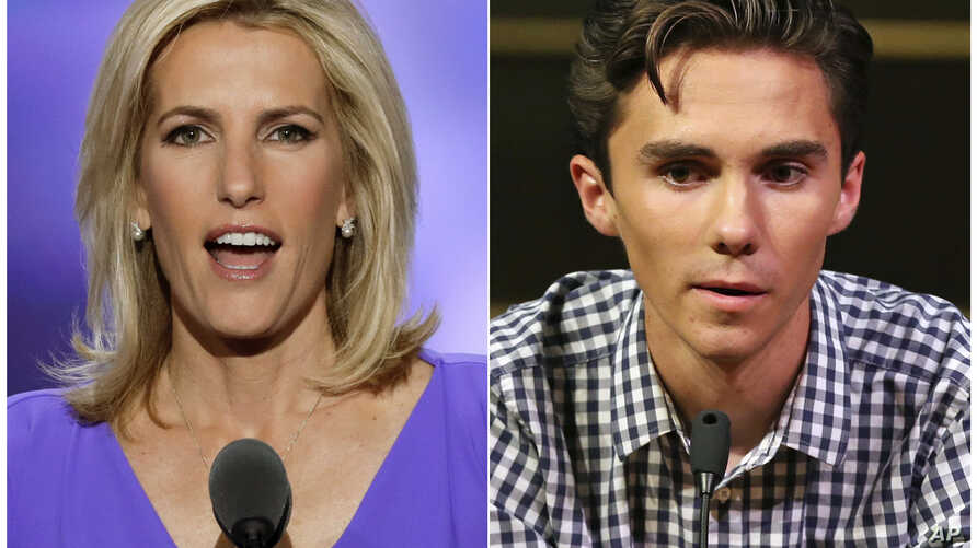 In this combination photo, Fox News host Laura Ingraham speaks at the Republican National Convention in Cleveland on July 20, 2016, left, and David Hogg, a student survivor from Marjory Stoneman Douglas High School in Parkland, Florida, speaks at a r