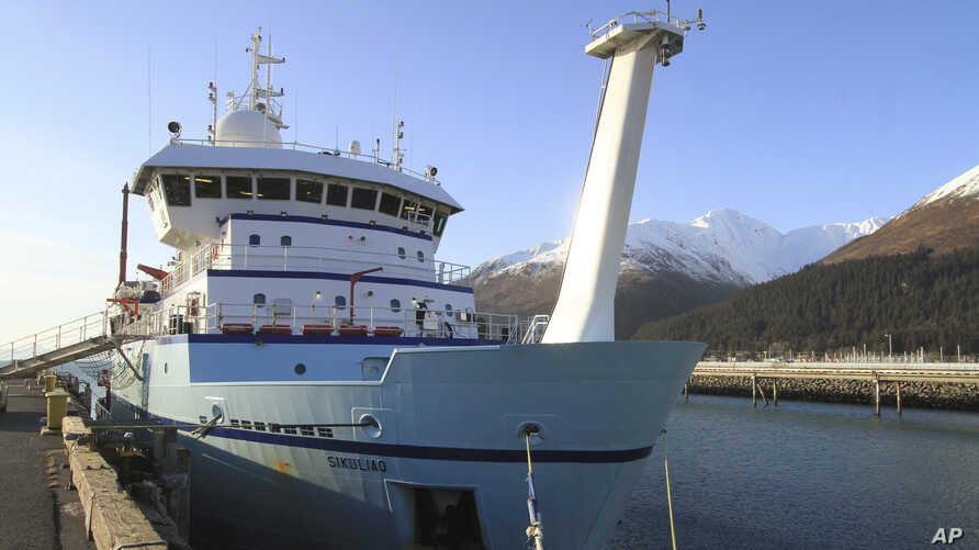FILE - The National Science Foundation research ship Sikuliaq is seen moored in Seward, Alaska, Feb. 25, 2015.