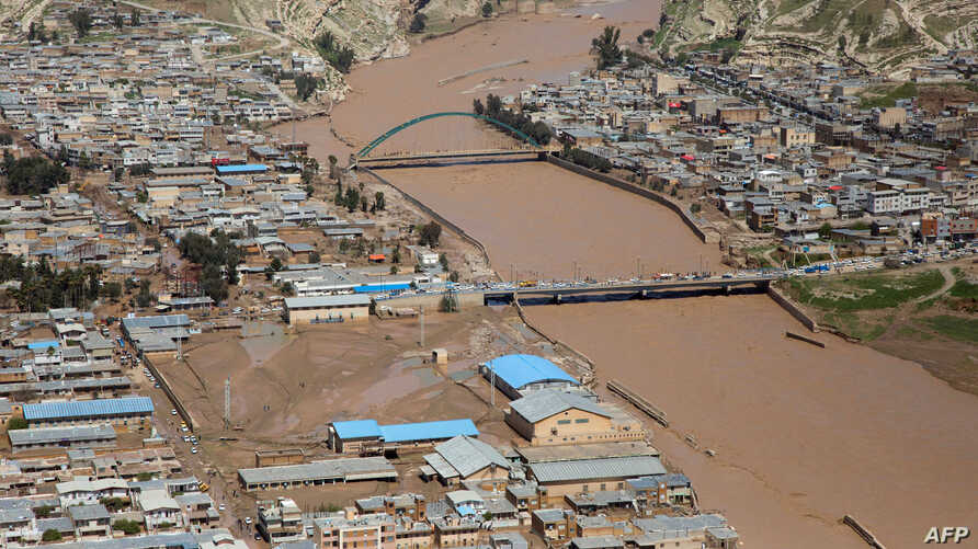 A general view of the flooded city of Poldokhtar in the Lorestan province, April 2, 2019. Officials have ordered mass evacuations in neighboring Khuzestan as extensive rainfall reaches the oil-rich southwestern province.
