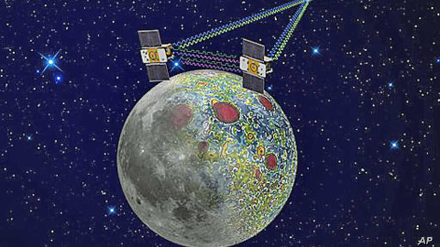 This undated artist rendering provided by NASA shows the twin Grail spacecraft mapping the lunar gravity field. The two probes are scheduled to enter orbit around the moon over New Year's weekend.