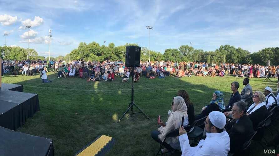 Sen. Al Franken speaks during an Aug. 8, 2017, solidarity event at the Al Farooq Youth & Family Center in Bloomington, MN, which was fire-bombed days earlier.