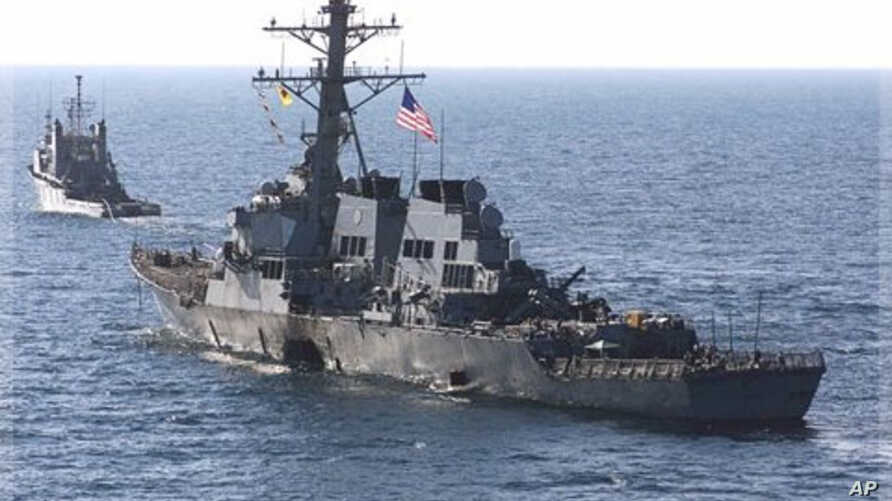 U.S. Navy destroyer USS Cole as it is towed from the port city of Aden, Yemen, on Oct. 29, 2000 (file photo).