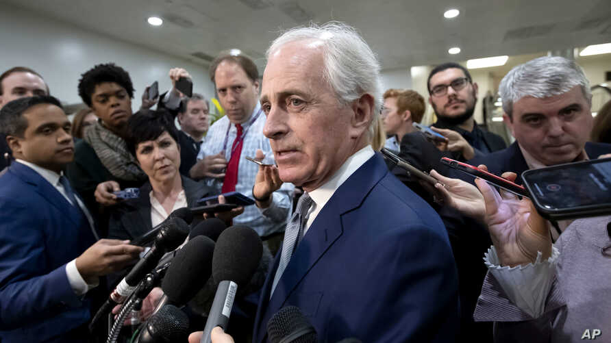 Sen. Bob Corker, R-Tenn., speaks to reporters at the Capitol in Washington, Dec. 4, 2018.
