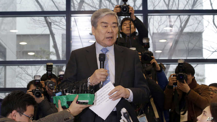FILE - In this Dec. 12, 2014 file photo, Korean Air chairman Cho Yang-ho, speaks to the media about an apology at its head office in Seoul, South Korea.