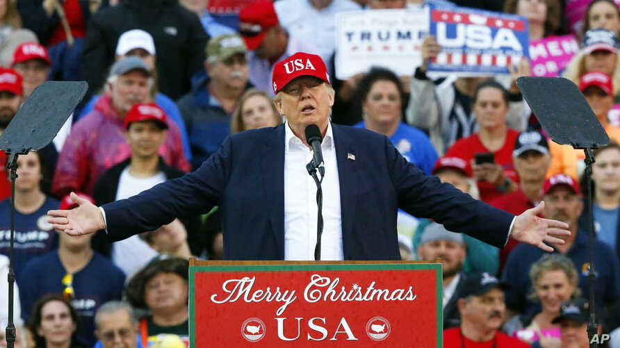 President-elect Donald Trump speaks during a rally at the Ladd–Peebles Stadium, in Mobile, Ala., Dec. 17, 2016.